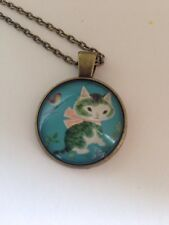Kawaii cute kitty cat. Glass cabochon necklace UK seller Freepost.