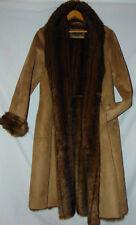~TRIBAL WOMENS FAUX SUEDE COAT FAUX FUR LINING MAXI COAT SZ 10/12