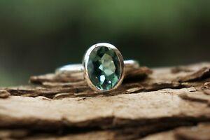 Sterling Silver Ring Green Quartz Gemstone 925 Fine Silver Handmade Ring