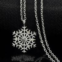Crystal Snowflake Pendant 925 Sterling Silver Chain Necklace Womens Jewellery