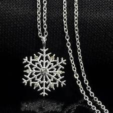 Christmas Crystal Snowflake 925 Silver Chain Necklace Jewelry Xmas Best Gift
