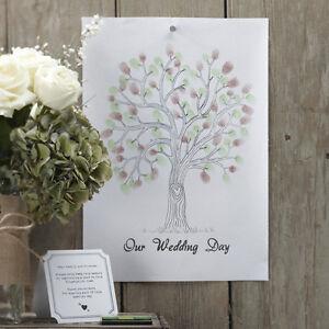 Fingerabdruck Leinwand Gästebuch Hochzeit Wedding Tree A3 - grün / braun
