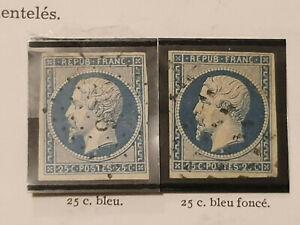 France Lot 2 Timbres Napoléon République Oblitéré N°10 et 10 a 1852