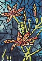 ACEO original miniature painting Ink pen & Watercolor - Stained Glass Flower