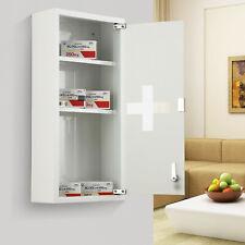 HOMCOM 3-Tier Wall Mount Medicine Cabinet Magnetic Door Lockable Glass Door