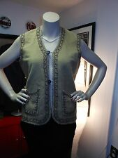 Vintage Bohemian Felt Vest With Embroidery And Braid Tan Size 40 Chest