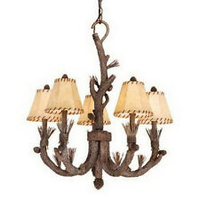 Rustic 5 Light Pine Tree Chandelier With Shades