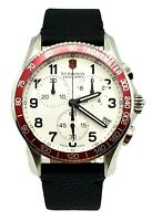Victorinox Swiss Army Men's Watch 249009 Classic Chrono Silver Dial Leather Band