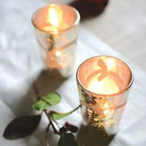 Antique Silver Etched Flower Candle Holder, Glass Votive Pot, Tea Light Holder