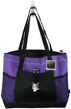 Boston Terrier Monogram Purple Gemline Zipper Tote Bag Puppy Dog Pet Adopt Gift