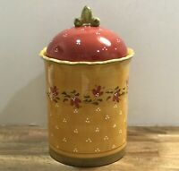 Beautiful Large Demdaco Bienvenue Cookie Jar Canister Ceramic 2003 Yellow Red