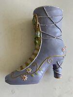"Vintage Blue  Boot Shoe Vase Ceramic Pottery Planter 7"" Tall Rhinestones"