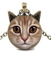 """Gold Tabby Cat With Ears 20"""" Antique Gold Chain Glass Cabochon Pendant Necklace"""
