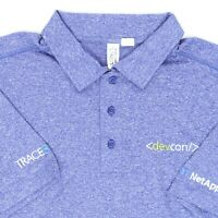 "Men Large 48"" Trace3 DevCon NetApp Mitchell Polo Shirt Heather Blue Polyester"