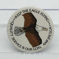 Vintage NYC JFK AMF LaGuardia Airports Keep the Eagle Flying Pin Back Button HTF
