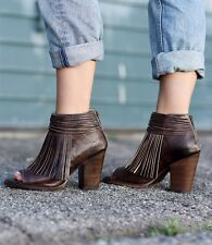 Bed Stu Olivia Brown Rustic Distressed Fringed Leather Booties 8.5M(9-9.5) $255