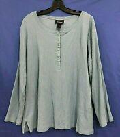 AVENUE 100% Cotton RIBBED Knit Shirt/Top COMFORT FIT 1/4 Button Blue Sz 22/24