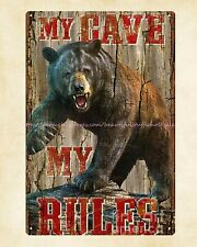 Us Seller- mencave my cave my rules metal tin sign metal wall decor sale