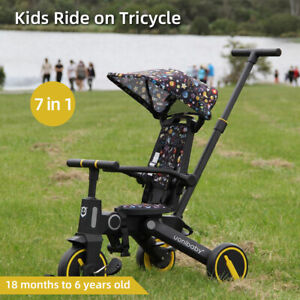 7 in 1 FoldableKids Ride on Trike Baby Toddler Tricycle Stroller Bike Reverse