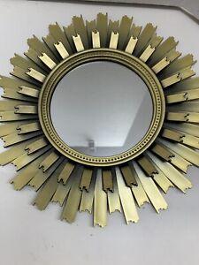 "Gold Sunburst Mirror 4.5"" Hanging Interior Wall Art Home Decor 10"" Total"