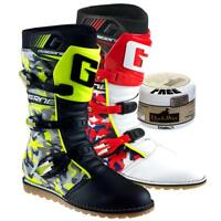 Gaerne Balance CAMO Trials Boots Blue, Red or Flou Yellow - FREE DUCKSWAX