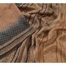 Sanskriti Vintage Brown Sarees 100% Pure Silk Printed Craft 5 Yard Fabric Sari