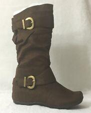 New Women Faux Suede Flat Winter Boots ~ 7 - 10/ Dark Brown