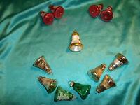 ~ 12 x alter Christbaumschmuck Glas Glocken rot grün silber gold Vintage CBS ~