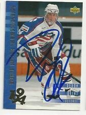93/94 Upper Deck Autographed Hockey Card Deron Quint Team USA