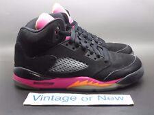 Girls' Nike Air Jordan V 5 Black Bright Cactus Citrus Pink Retro GS 2013 sz 4.5Y