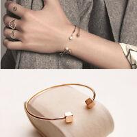 Women's 18K Rose Gold Filled 6mm Cube Fashion Bangle Bracelet Stunning Gift
