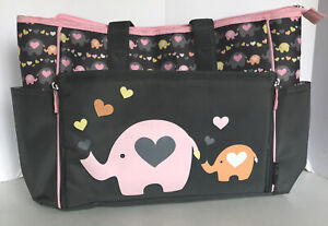 Baby Boom Drop Front Baby Tote Diaper Bag Gray Pink Orange Elephant 5 Pockets