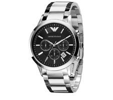 Emporio Armani Men's 43mm Steel Bracelet & Case Quartz Black Dial Watch AR2434
