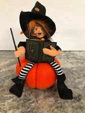 "ANNALEE 7"" Halloween Witch Kid Pumpkin Wand Casting Spell book Figurine New"