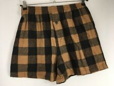 NWT VTG 90s Ron Chereskin Brown Black Flannel Plaid Soft Comfy Boxer Shorts Sz M