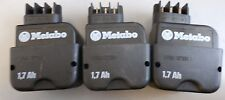 Lot of 3 Metabo 1,7 Ah PA6-GF35 Ni Cd Akku 9,6 V