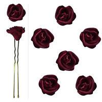 6 épingles pics cheveux chignon mariage mariée fleur satin bordeaux violacé