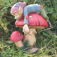 Pixie Asleep on Mushroom Garden Magic Decor Indoor Outdoor Fairy Gift 39124S