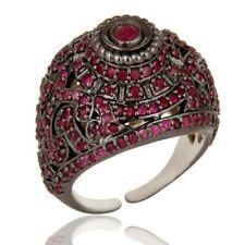 Natural Ruby Black Rhodium 925 Sterling Silver Ring Gemstone Jewelry