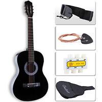 Beginners Acoustic Guitar w/Guitar Case, Strap, Tuner & Pick Steel Strings Black