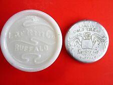 ANTIQUE APOTHECARY JAR LARKIN MILK GLASS EMBOSSED OLD DRUG COSMETIC ADVERTISING