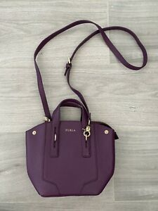 Genuine Furla Purple Leather Crossbody Messenger Bag Handbag