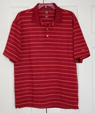 Nike Golf Fit Dry Polo Shirt Red Striped Size Medium