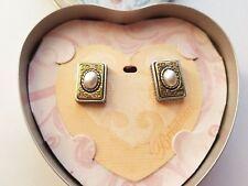 BRIGHTON Two Tone Pearl Post Earrings