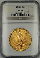 1914-S $20 Dollar St. Gaudens Double Eagle Gold Coin NGC MS-63 AMT (A)