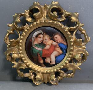Antique GERMAN PORCELAIN Religious PORTRAIT Plaque RAPHAELS MADONNA Della SEDIA