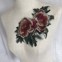 Flower Embroidery Patches Peony Sew on Applique Clothing Dress Bag Badge DIY