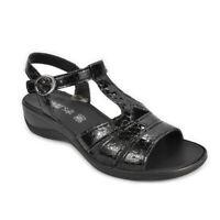 Sandalo donna Enval Soft Zeppa comoda nero lucido pelle cocco fibbia - 3280411