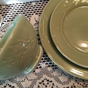 Dinnerware Set Green 3 Piece Dish Set Sage Dinner Salad Plates Bowl Twig Design