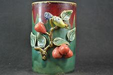 Old Chinese Porcelain Handwork Carving Beauty Birds & Fruit Usable Big Brush Pot